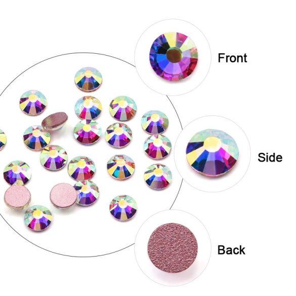 1680 -dielna sada krištáľových kamienkov v 6 rôznych veľkostiach P15 - Rainbow