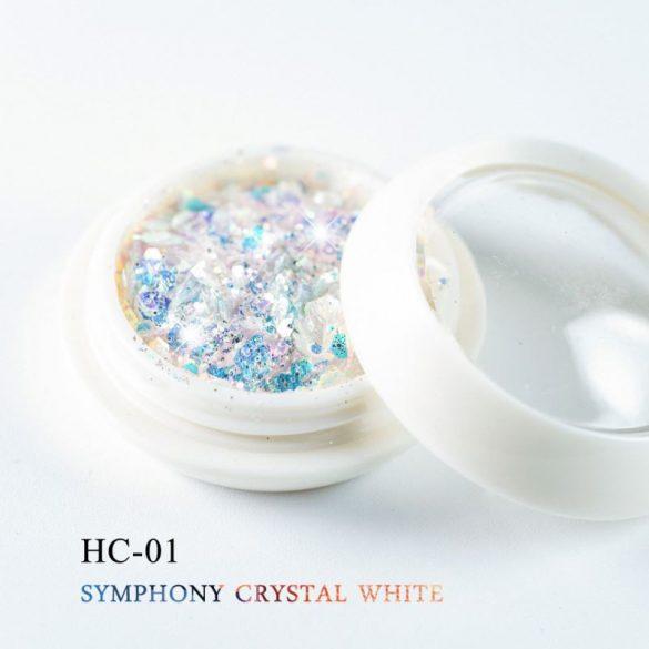Dekoratívne flitre vo farbe bieleho kryštálu, šesťhranné, zmiešaná veľkosť