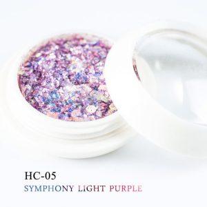 Dekoratívne flitre vo svetlofialovej farbe, šesťhranné, zmiešaná veľkosť
