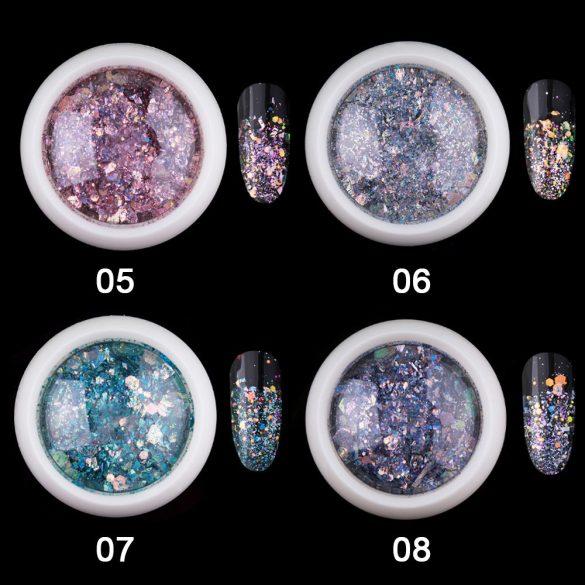 Dekoratívne flitre v zafírovej farbe, šesťhranné, zmiešaná veľkosť